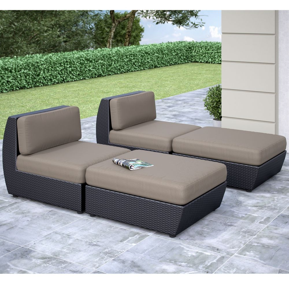 Seattle Curved 4 Pc Lounger Patio Set