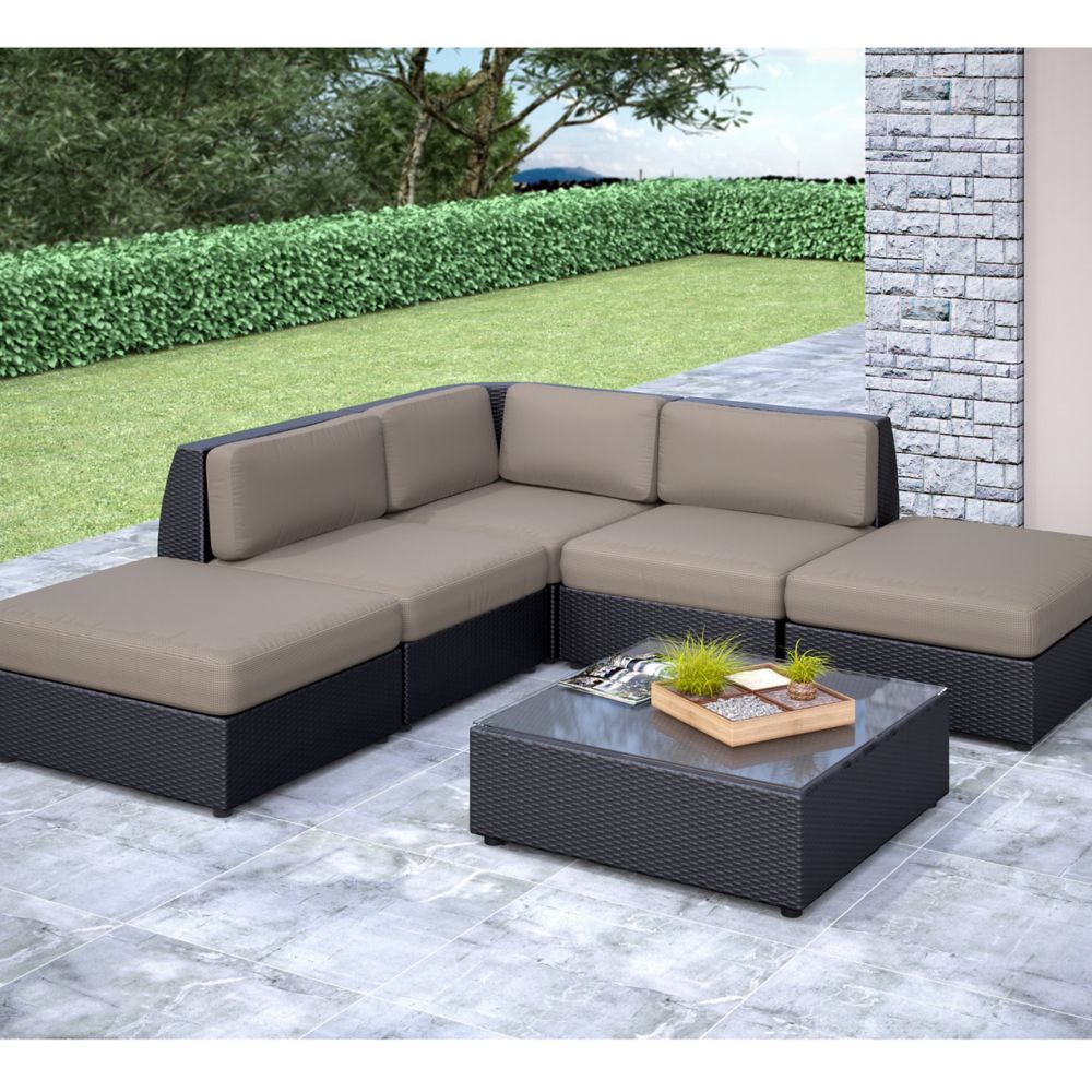 Seattle Curved 6 Pc Chaise Lounge Sectional Patio Set