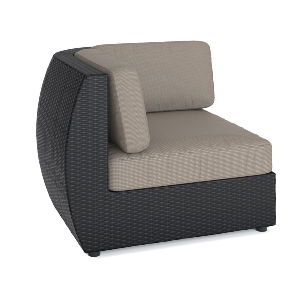 Corliving Seattle Corner Patio Sectional Seat in Textured Black Weave