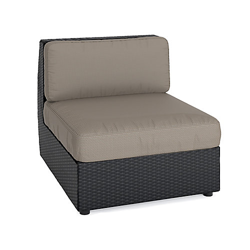 Seattle Middle Patio Sectional Seat in Textured Black Weave