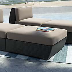 Seattle Patio Ottoman In Textured Black Weave