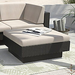 Park Terrace Textured Black Ottoman