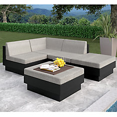 Park Terrace 5-Piece Patio Sectional Set in Textured Black