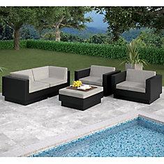 Park Terrace 5-Piece Sofa Patio Set in Textured Black