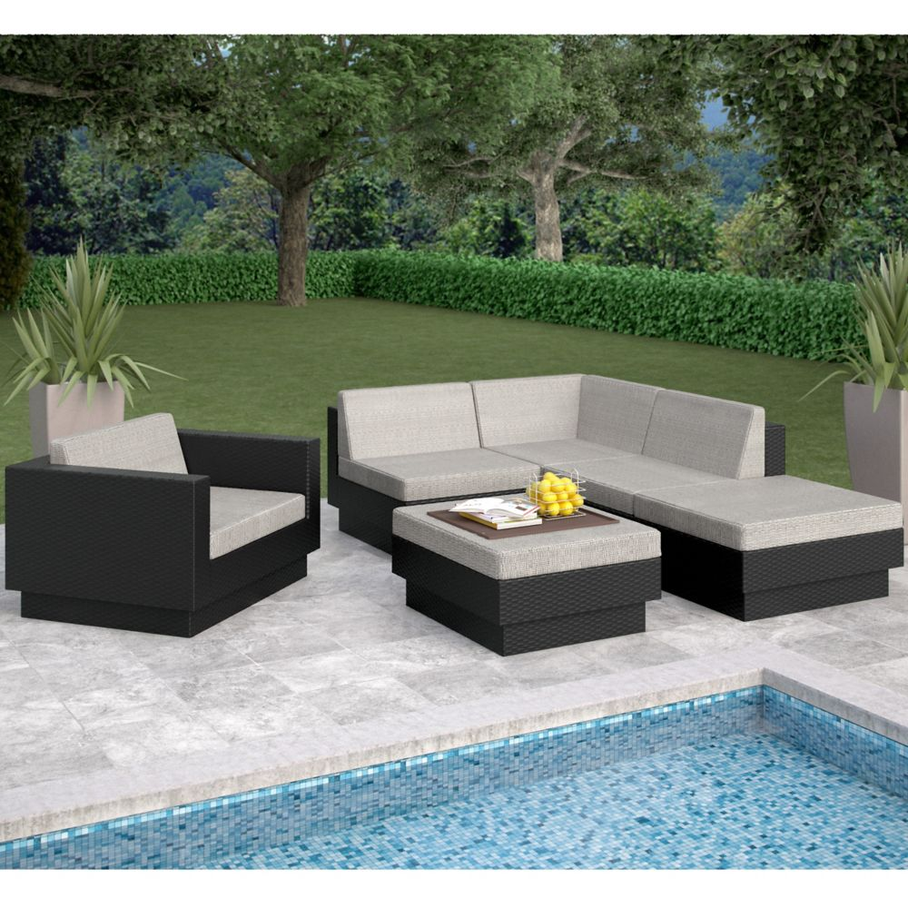 outdoor fire conversation patio with drift teak wicker venice louvre pit sectional set furniture