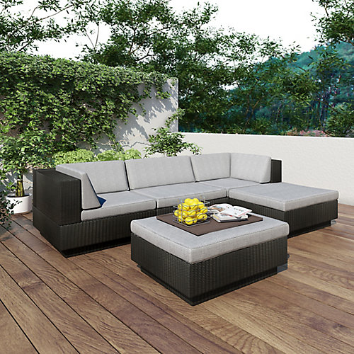 Park Terrace 5-Piece Double Armrest Patio Sectional Set in Textured Black