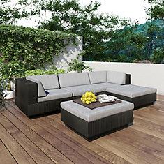 Park Terrace 5-Piece Double Armrest Patio Sectional Set in Textured Black