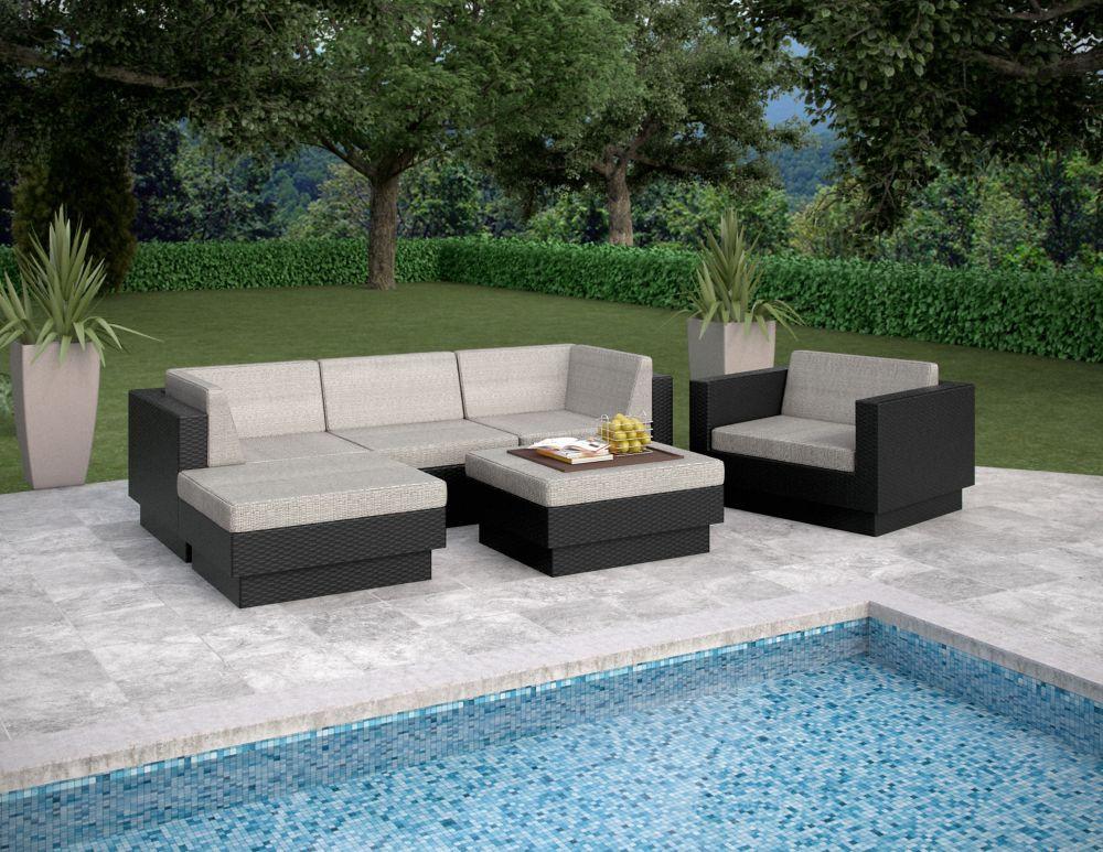 Park Terrace Textured Black 6 Piece Double Armrest Sectional Patio Set
