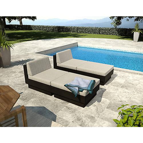 Park Terrace Black Textured 4-Piece Lounger Patio Set
