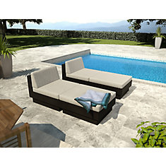 Park Terrace Black Textured 4 Piece Lounger Patio Set