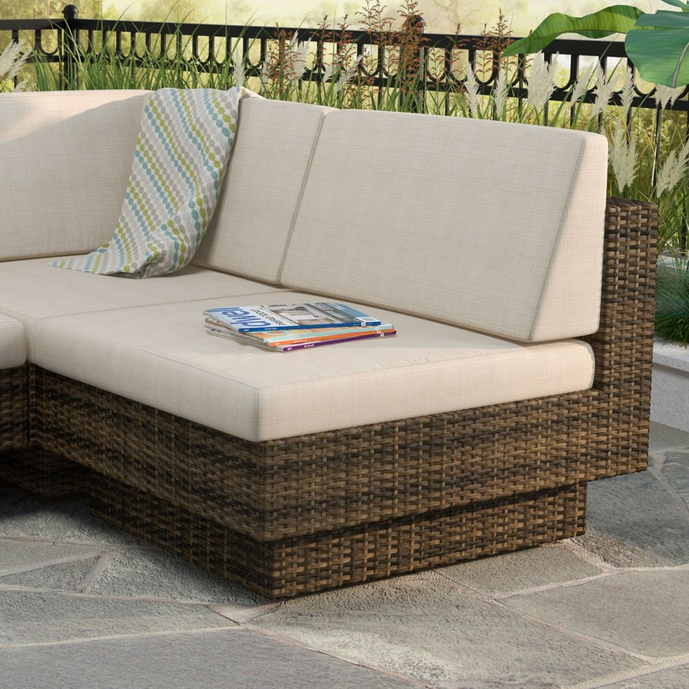 Park Terrace Armless Middle Patio Sectional Seat in Saddle Strap Weave