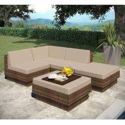Sonax PPT-371-Z Park Terrace - Ensemble Patio composable 5 pièces en Résine tressée marron