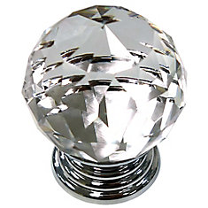 Eclectic Brass and Acrylic Knob - Clear and Chrome - 39.5 mm Dia.