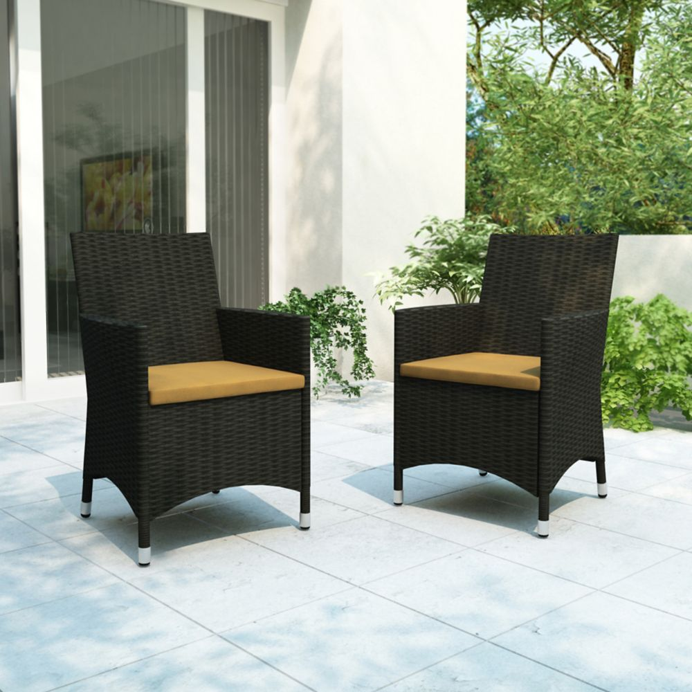 Cascade Patio Chair Set in Charcoal Black and Sunshine Yellow