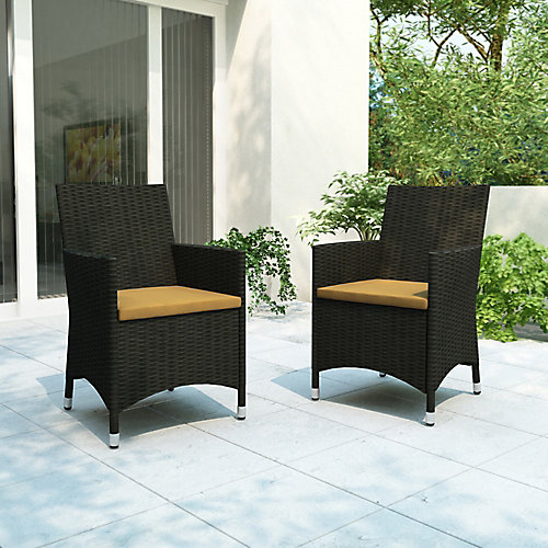 Cascade Patio Chair in Charcoal Black and Sunshine Yellow (Set of 2)