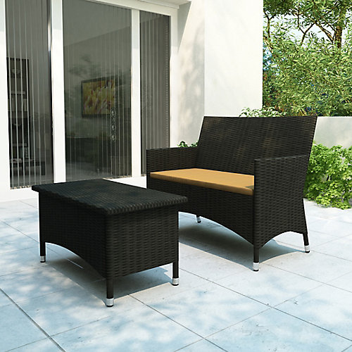Cascade Patio Sofa and Coffee Table