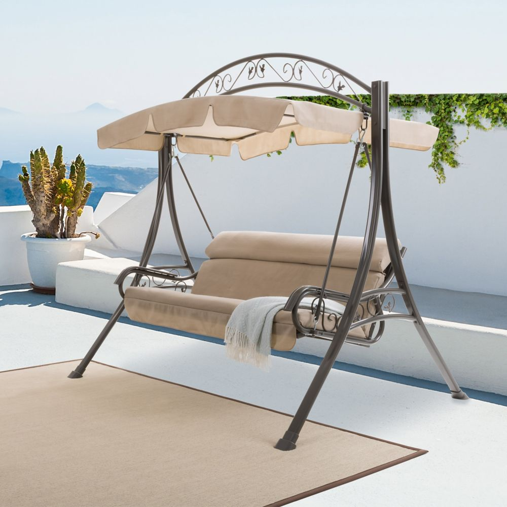 swing with s in beige patio pnt corliving outdoor nantucket canopy shop swings departments furniture arched