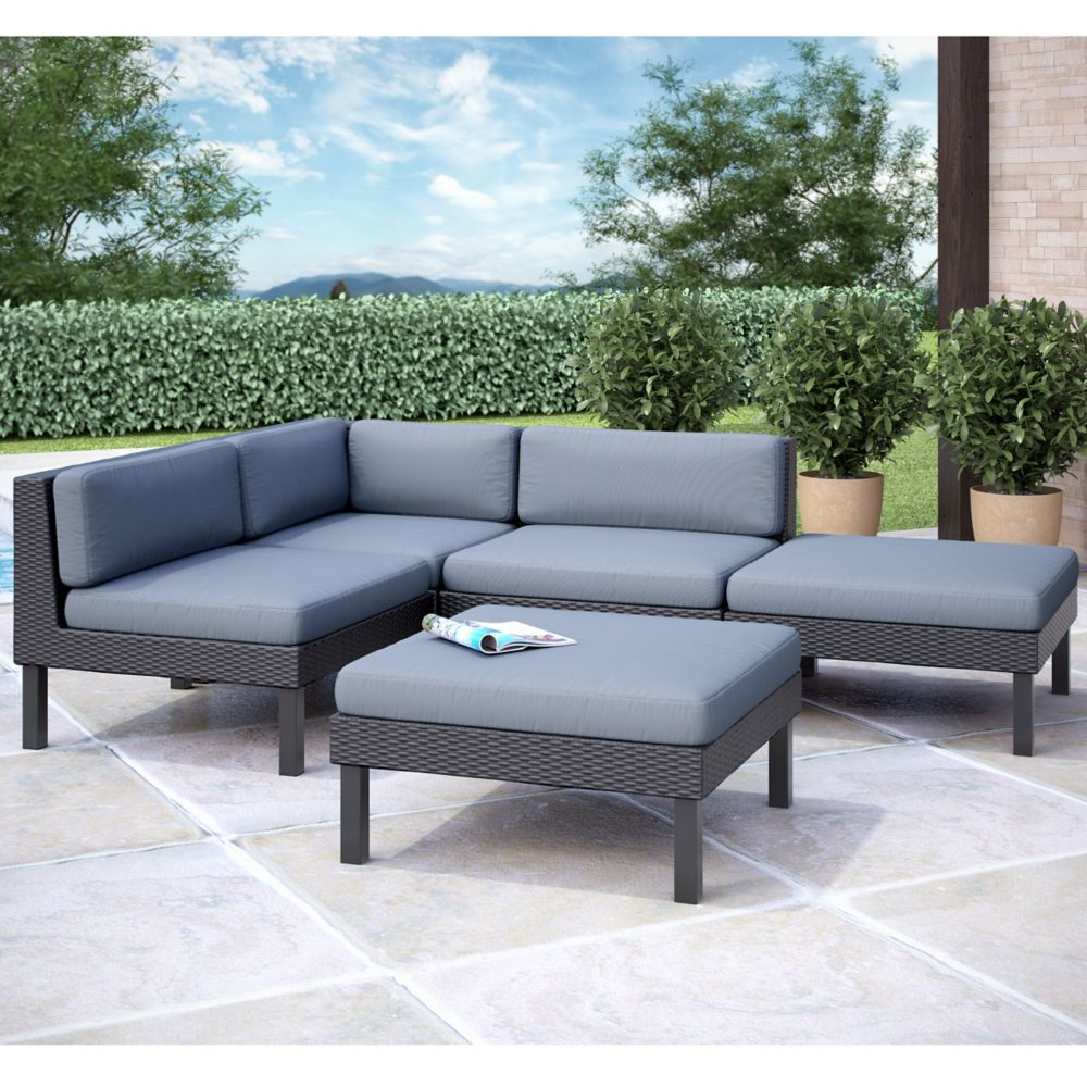 corliving oakland 5 pc sectional with chaise lounge patio set the home depot canada. Black Bedroom Furniture Sets. Home Design Ideas