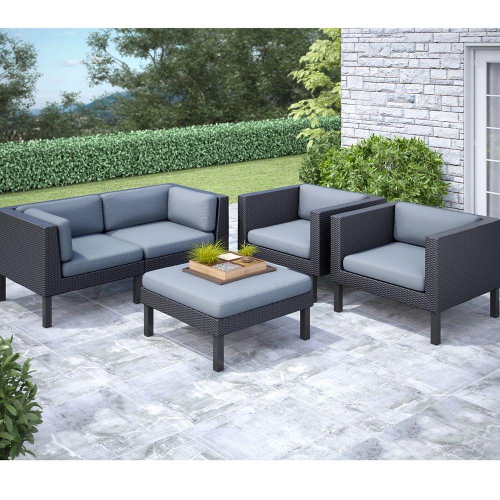 PPO-802-Z Oakland - Ensemble Patio sofa et fauteuils 5 pièces.