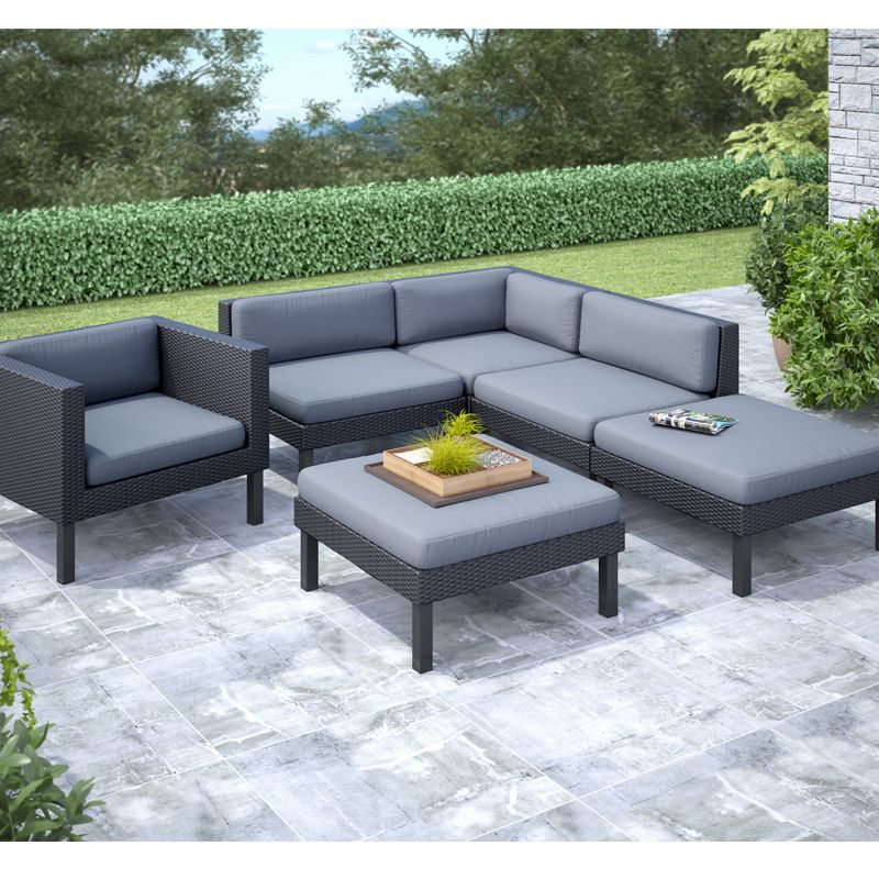 Oakland 6-Piece Patio Sectional Set with Chaise Lounge and Chair