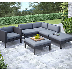 Corliving Oakland 6-Piece Patio Sectional Set with Chaise Lounge and Chair