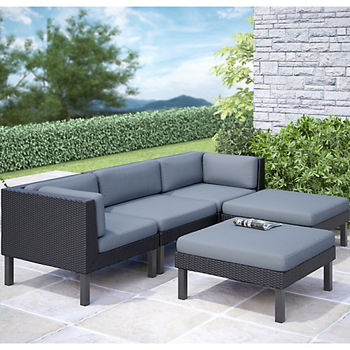 Corliving Oakland 5 Piece Patio Sofa with Chaise Lounge Set