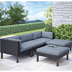 Oakland 5 Piece Patio Sofa With Chaise Lounge Set