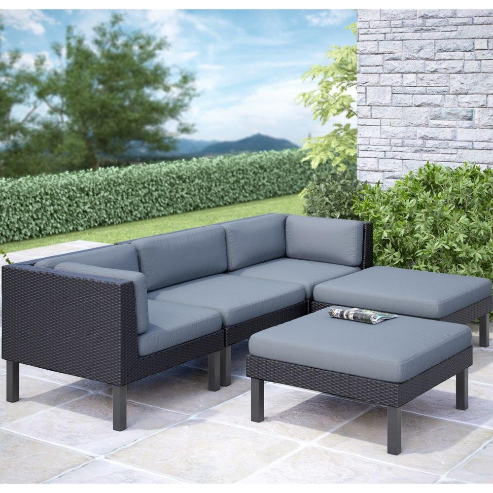 Corliving Oakland 5-Piece Patio Sofa with Chaise Lounge Set