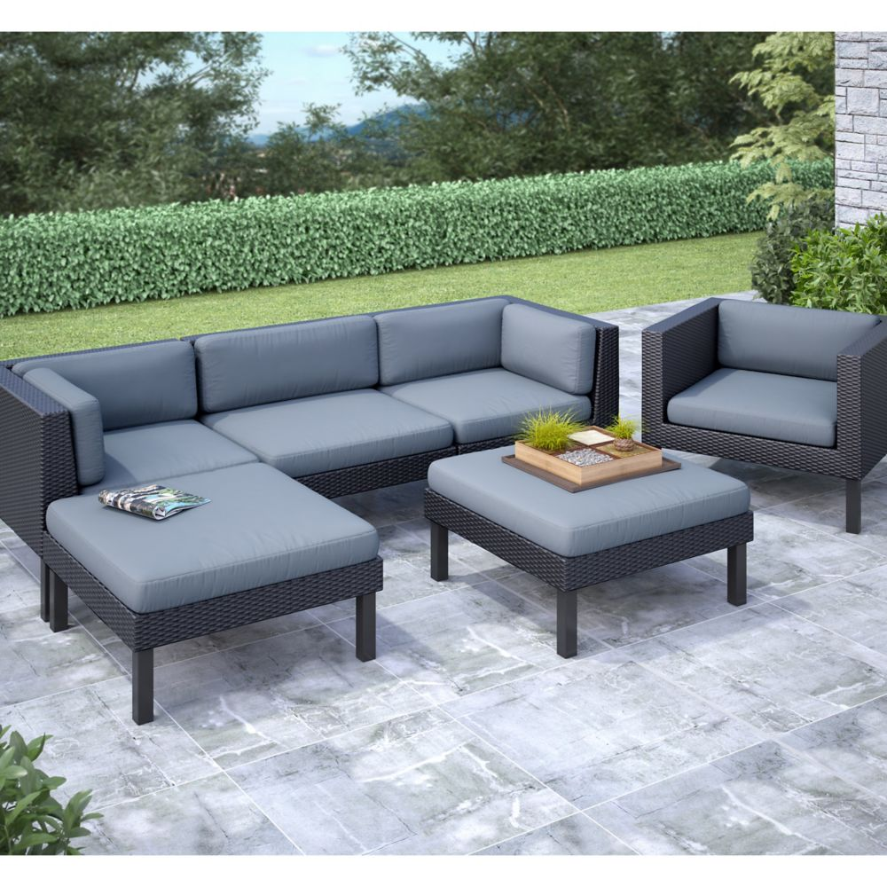 Oakland 6-Piece Patio Sofa with Chaise Lounge and Chair Set