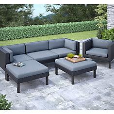 PPO-805-Z Oakland - Ensemble Patio composable sofa avec chaise longue et fauteuil 6 pièces