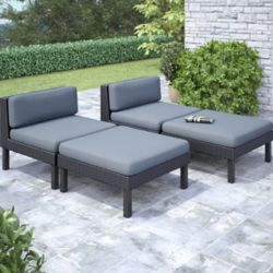 Corliving Oakland 4-Piece Lounger Patio Set