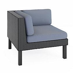 Corliving Oakland Patio Corner Seat in Textured Black Weave