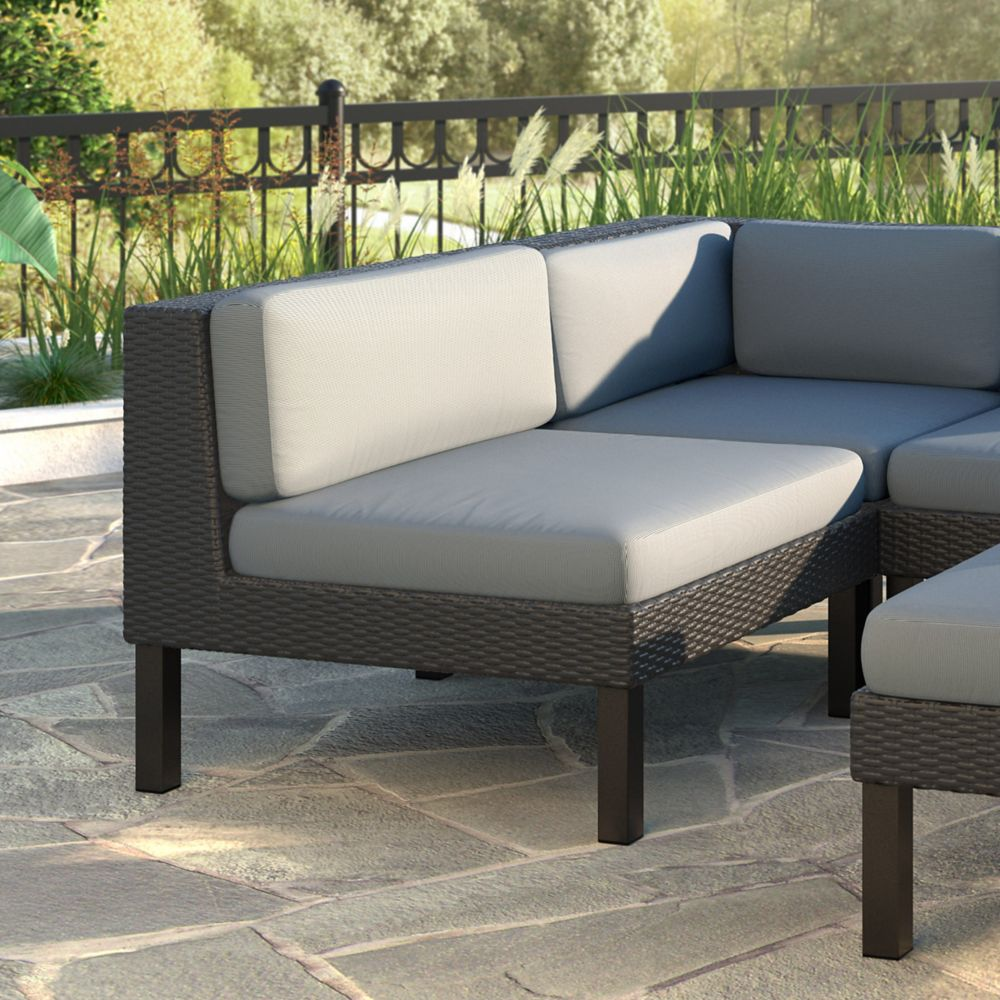 Oakland Patio Middle Seat in Textured Black Weave