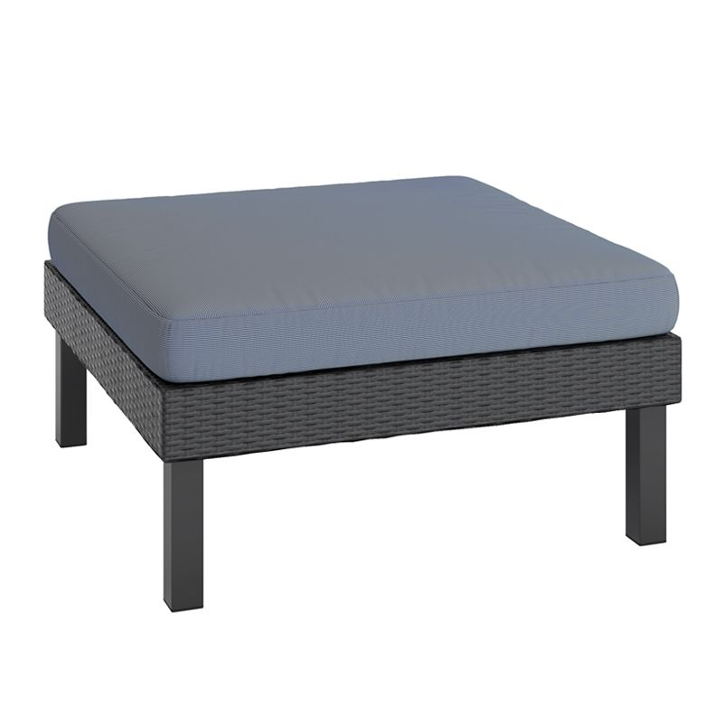 Oakland Patio Ottoman In Textured Black Weave