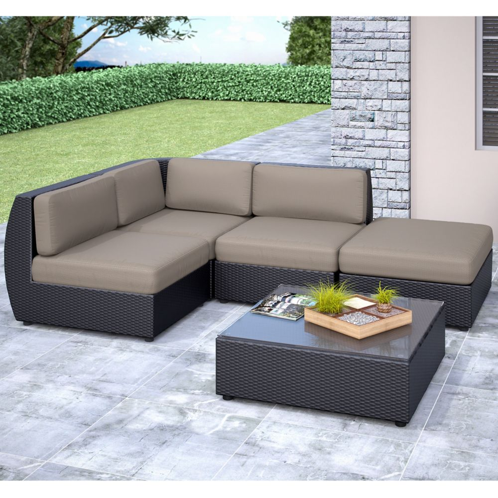 Seattle Curved 5 Pc Sectional With Chaise Lounge Patio Set