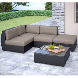 Corliving Seattle Curved 5-Piece Patio Sectional Set with Chaise Lounge