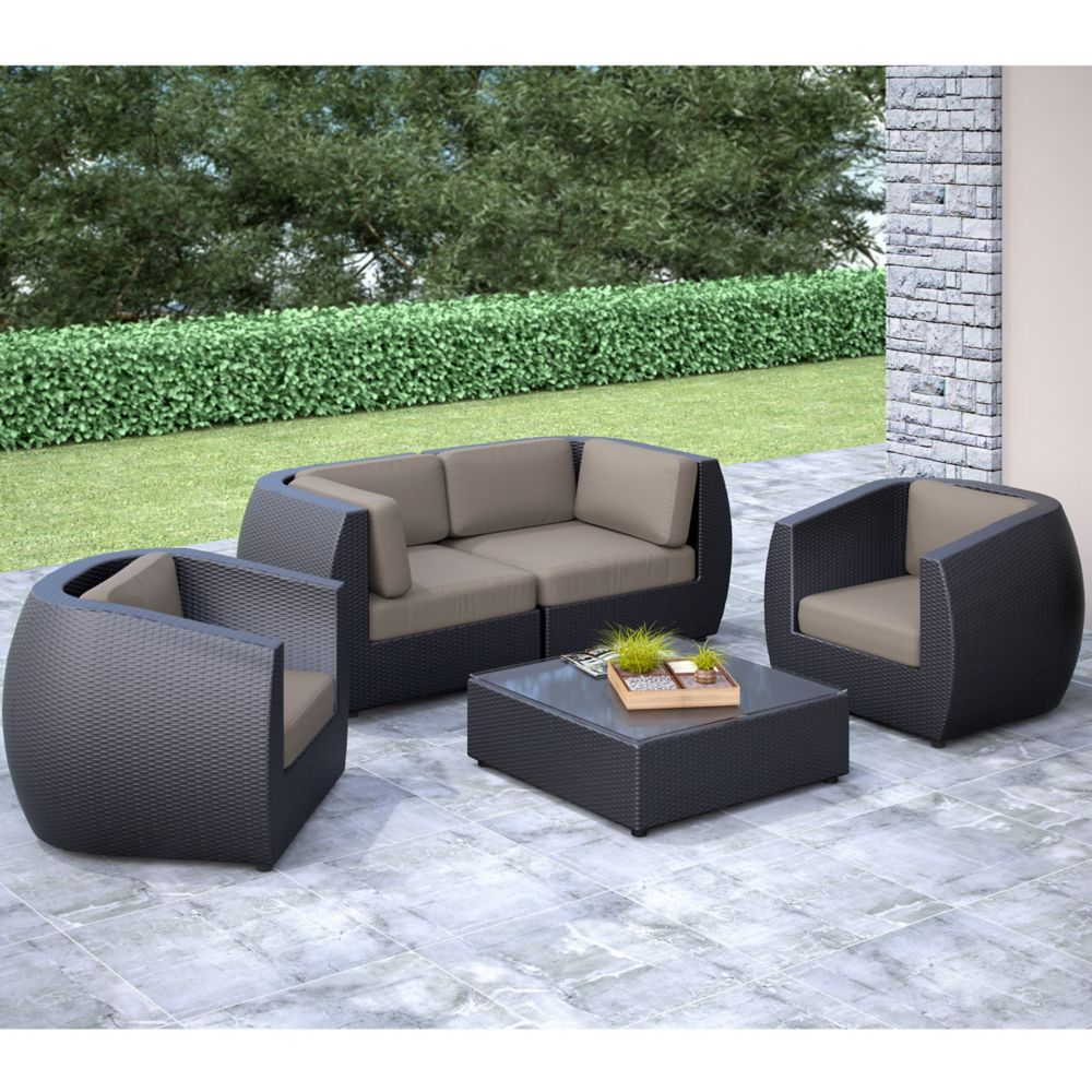 Corliving Seattle Curved 5 Pc Sofa And Chair Patio Set ... on Outdoor Loveseat Sets id=38468