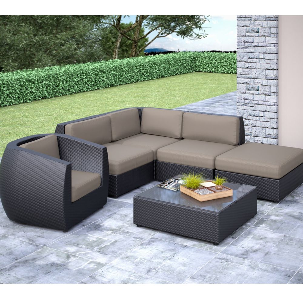 Seattle Curved 6 Pc Sectional With Chaise Lounge And Chair Patio Set