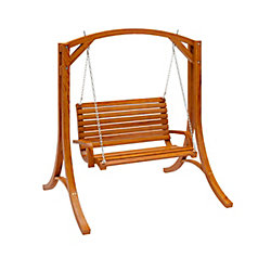 Corliving Wood Canyon Patio Swing in Cinnamon Brown