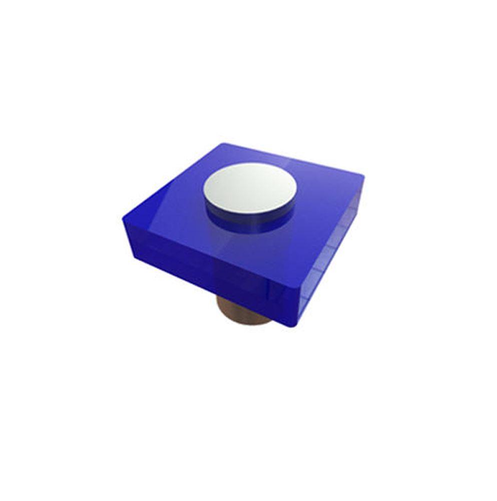 Contemporary Plastic Knob - Blue, Plastic - 30 Mm Dia.