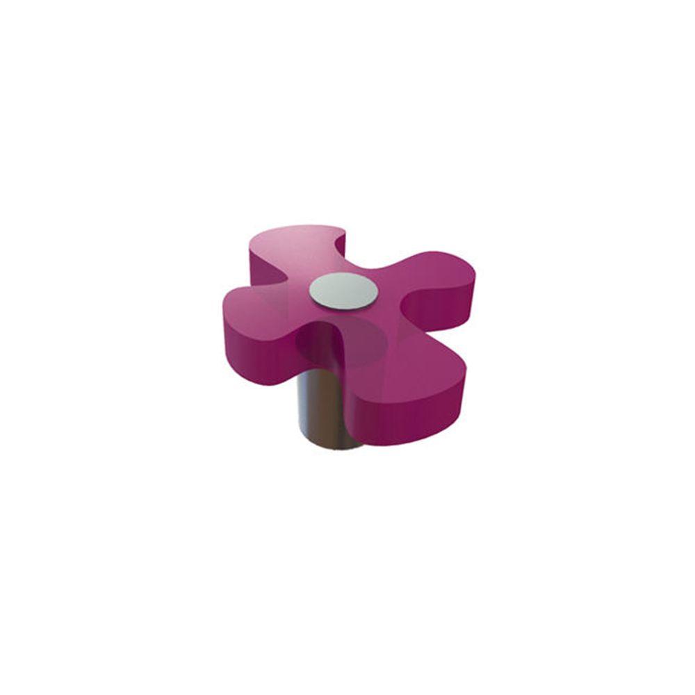 Bouton contemporain en plastique - Fushia, Plastique - Dia. 45 x 50 mm