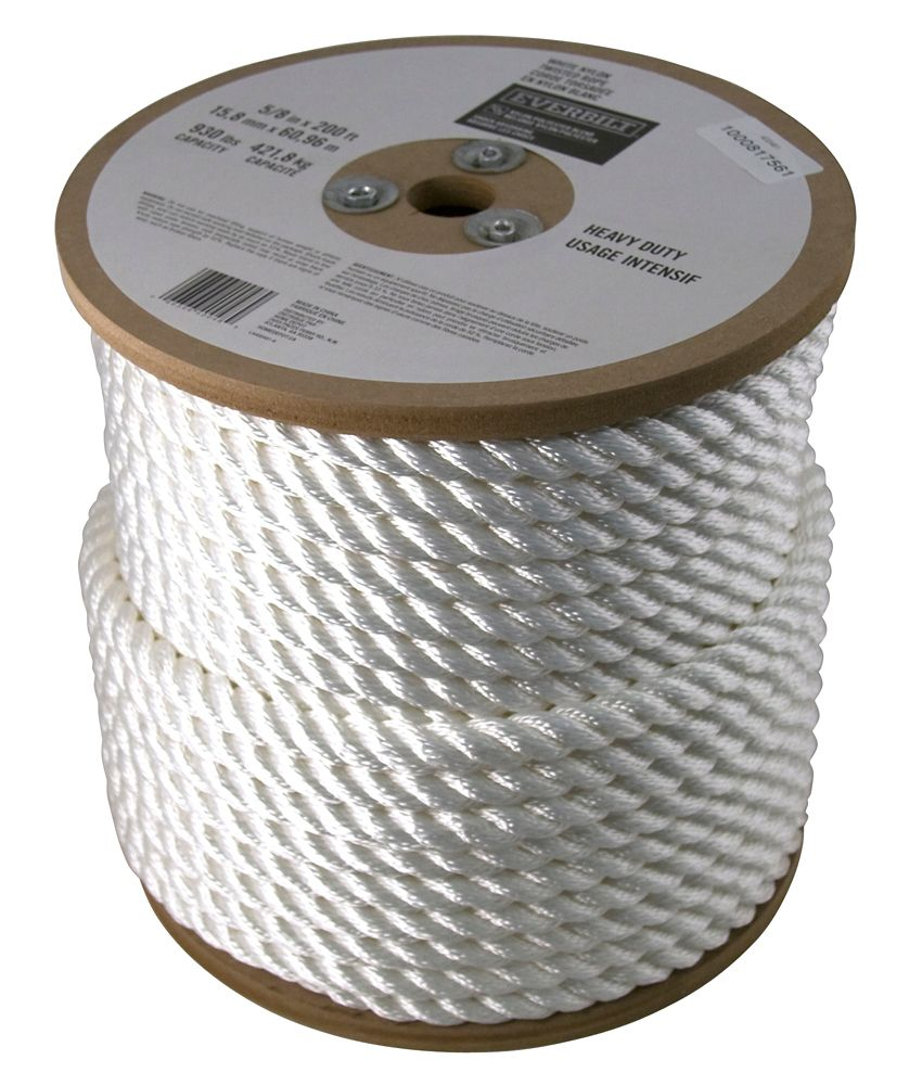 5/8 Inch  x 200 Feet  NYLON TWISTED WHITE (sold per foot)