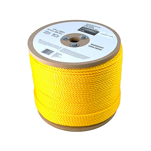 1/4 Inch  x 1200 Feet  POLYPROPYLENE TWISTED YELLOW (sold per foot)