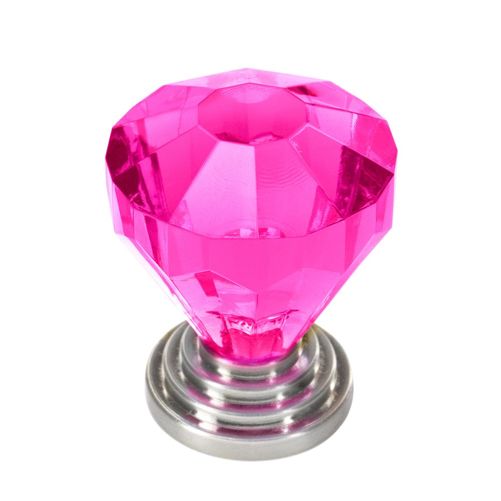 Classic Acrylic Knob - Brush Nickel, Fushia - 32 Mm Dia.