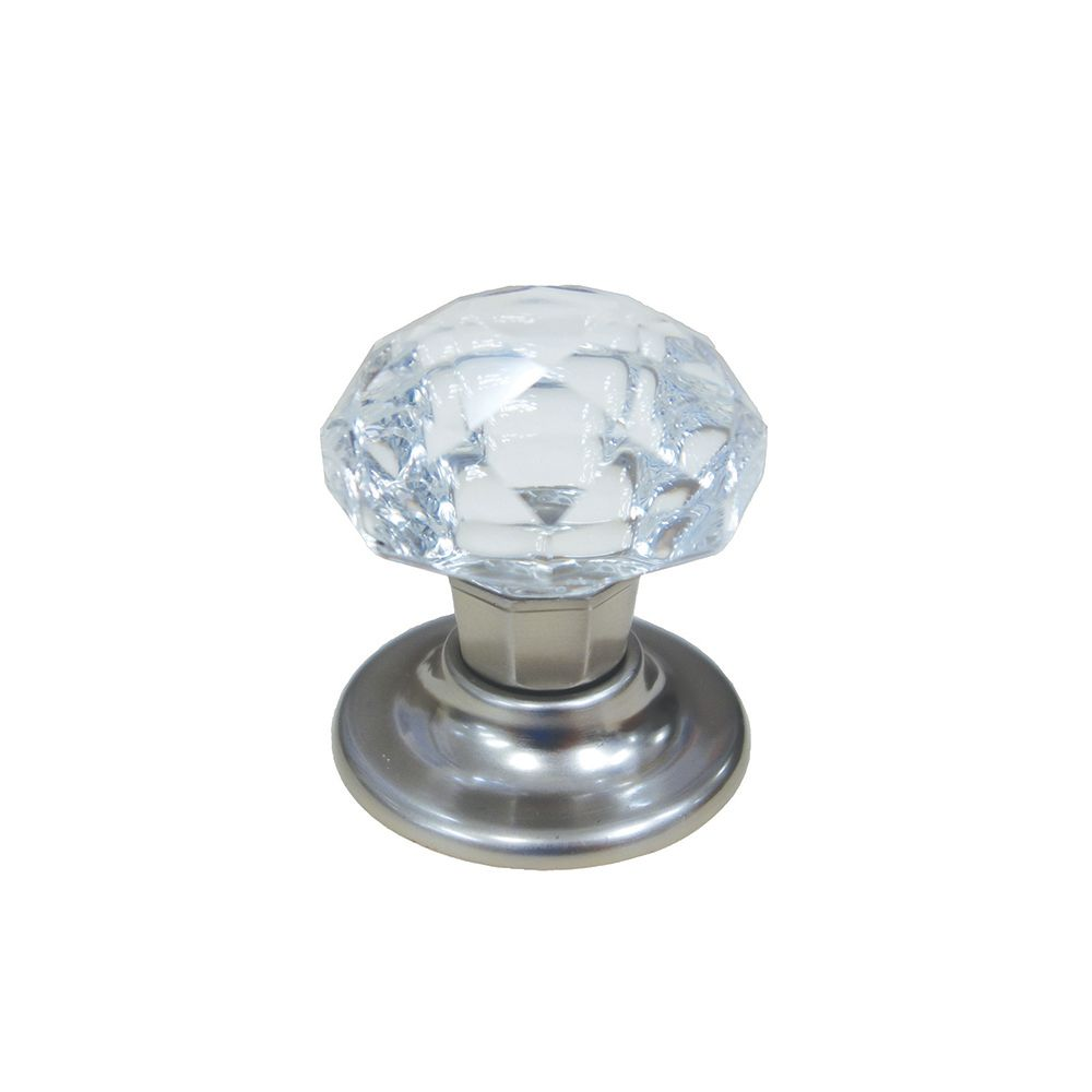 Classic Crystal Knob - Brush Nickel, Crystal - 45 Mm Dia.