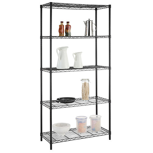72-inch H x 36-inch W x 16-inch D 5-Tier Shelving Unit in Black