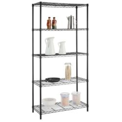 HDX 72-inch H x 36-inch W x 16-inch D 5-Tier Shelving Unit in Black