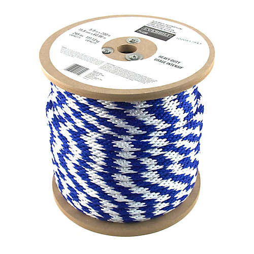 5/8 Inch  x 200 Feet  POLYPROPYLENE SMOOTH BLUE/WHITE (sold per foot)