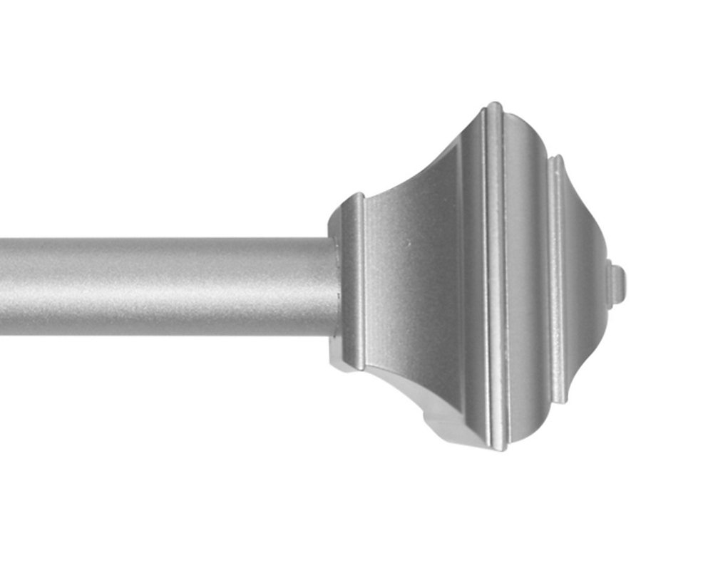 28-inch to 48-inch 5/8-inch Curtain Rod Kit in Silver with Decorative Square Finial