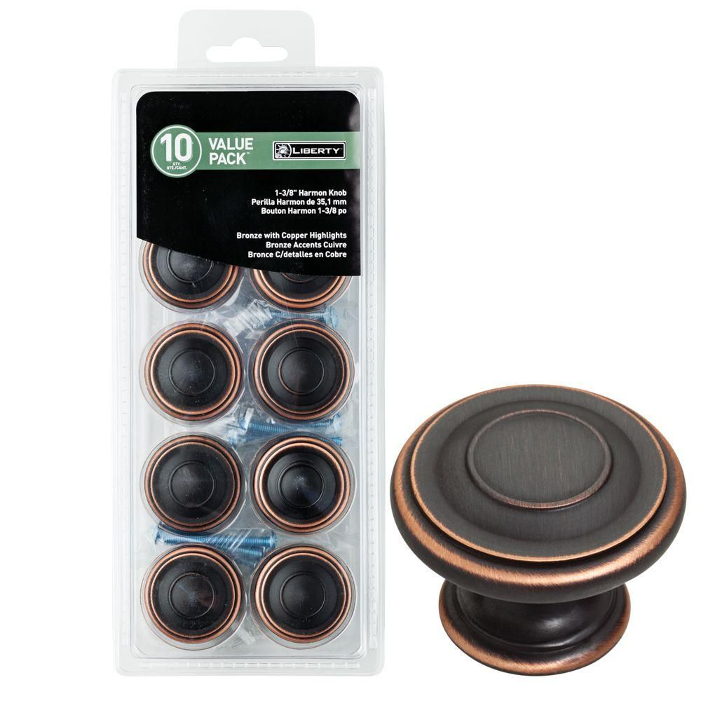 Harmon 1-3/8 in. Venetian Bronze with Copper Highlights Cabinet Knob (10-pack)